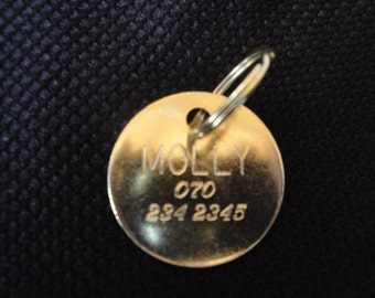 Solid Brass 1 1/4 Round Dog Tag - Slightly cupped
