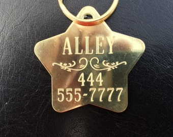 Solid Brass Decorative Star shaped Dog Tag