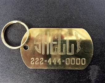 Solid Brass GI tag with Art Deco Design for your pet's name
