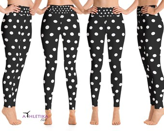 5fc8f1d90 Mouse Workout Leggings White Polka Dot Disney Cosplay Minnie Animation  Mickey Yoga Outfit Clothes Costume Running Party Women Gift Tights