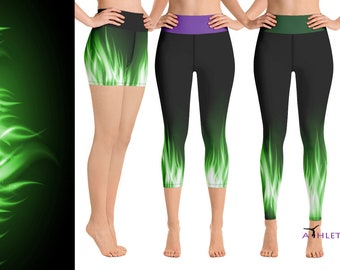 Maleficent Workout Leggings Disney Villain Cosplay Green Fire Flames Capri  Yoga Outfit Run Animation Clothes Costume Party Women Gift Tights 524afef5ed3