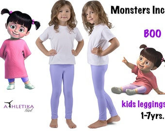 disney boo monsters inc lavender girl leggings purple color kids toddler pants tights cute cosplay outfit halloween costume children apparel