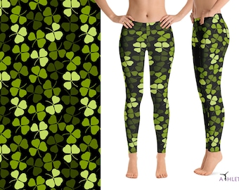 c45cda3670 Shamrock St. Patrick Yoga Leggings Shorts Capris Lucky Pattern Leaves Gym  Ireland Wear Irish Women Workout Running Fitness Gifts Bar Floral