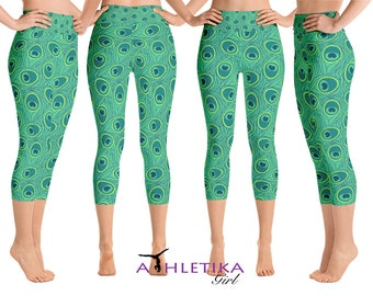 2bff0702b1 Peacock Yoga Leggings Capris Pants High Waisted Shorts Low Rise Workout  Tights Wear Funky Print Womens Athletic Gear Gift Green Gym Running