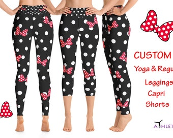 1b0176872178d Disney Minnie Mouse Workout Leggings White Polka Dot Cosplay Animation  Capri Mickey Yoga Outfit Clothes Costume Bows Party Women Gift Tights