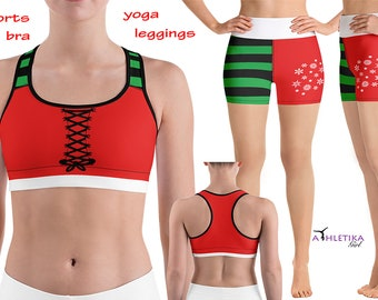 ff3ab64efc Christmas Yoga Athletic Costume Set Santa Elf Disney Sports Bra Top Gym  Outfit Fitness Party Booty Running Shorts Active Sexy Gear Corset