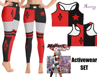 df411b223 Harley Quinn Running Cosplay Costume Yoga Leggings Sport Bra Shorts Women  High Waist Comics Super Hero Outfit Set Party Anime Clown Active