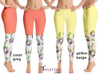 c22d90d9c619a6 Grapes Vine Yoga Leggings Women Workout Floral Yellow Fruit Flowers  Athletic Leaves Gym Running Wear Gear Dance Pants Vegan Gifts Fitness