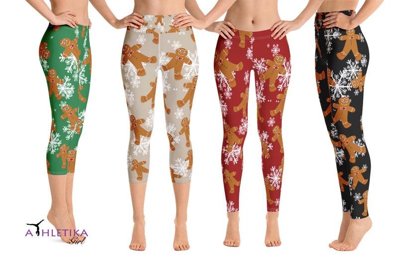 b18d89ea2ed31e Christmas Leggings Gingerbread Man Cookie Snowflakes Yoga | Etsy