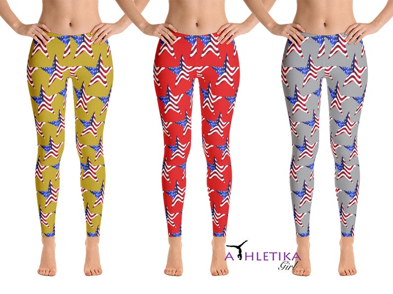 24a93907301b63 American Flag Yoga Leggings Stars USA Independence Day | Etsy
