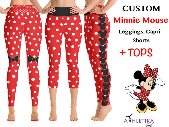 03edc318d0e02 Disney Minnie Mouse Workout Leggings Red White Dots Cosplay | Etsy