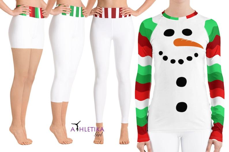 3f424a0b5557e Snowman Christmas Costume Yoga Workout Leggings Woman Rash | Etsy