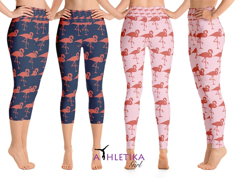 3cf628389b Flamingo Leggings Womens Capri Yoga Workout High Waisted Print | Etsy