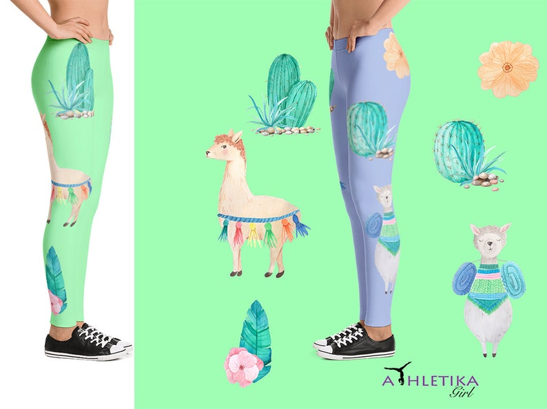 d354b243c Llama Animal Cacti Boho Watercolor Cactus Print Leggings Woman