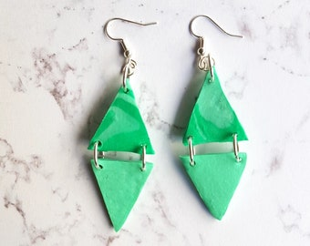 TRIANGLE geometric earrings polymer clay pastel green dangle