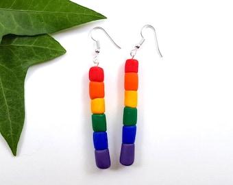 RAINBOW pride gay lesbian LGBTQ hbtq earrings polymer clay LGBTQI