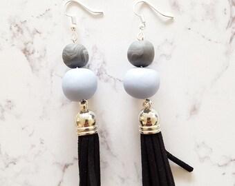 TASSEL earrings dangle black gray pastel purple, polymer clay earrings, tribal earrings, suede tassels