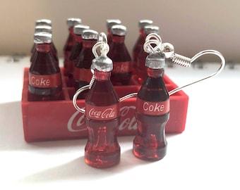 Coca cola bottle earrings, food earrings jewelry, Coke