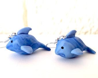 DOLPHIN shark blue earrings polymer clay charm animal jewelry