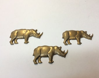 Brass Stamping - Large Antique Finish Rhinoceros - Set of 3