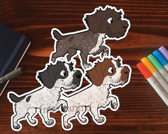 GWP Sticker    German Wirehaired Pointer Chibi Puppy Dog, Vinyl, Hand Drawn Illustration, Stationery, Digital Art