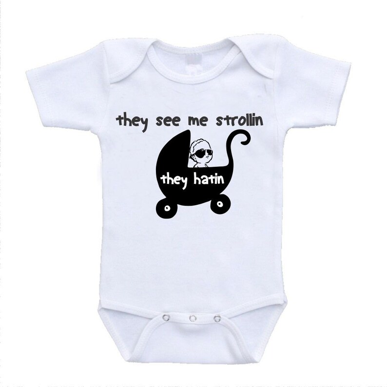 They See Me Strollin' Funny Cute Baby Bodysuit image 0