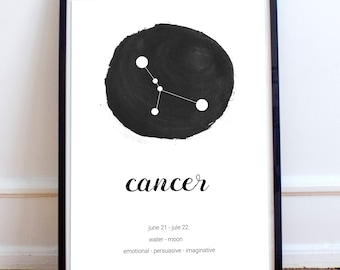 Cancer constellation gift download Jule gift idea Cancer zodiac art poster Cancer birthday gift