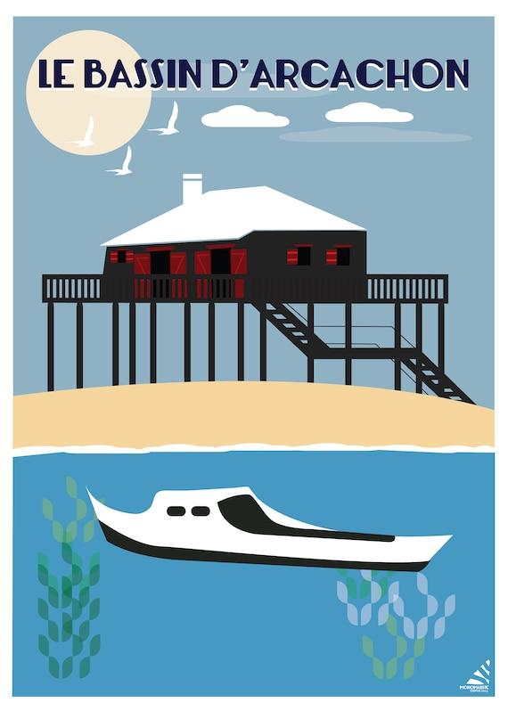 Affiche Le Bassin D Arcachon Illustration Bateau Bassin Etsy