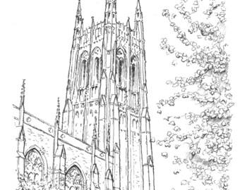 Print: Duke University Chapel, Durham, NC (Pen and Ink Rendering)