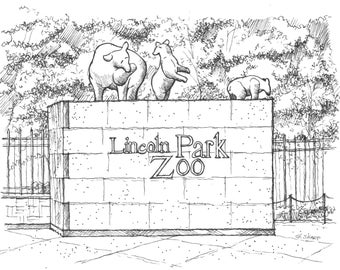 Print: Lincoln Park Zoo entrance, Chicago (Pen and Ink Rendering)