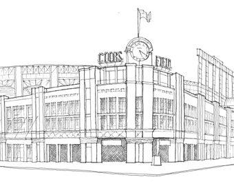 Print: Coors Field, Colorado Rockies Stadium, CO (Pen and Ink Rendering)