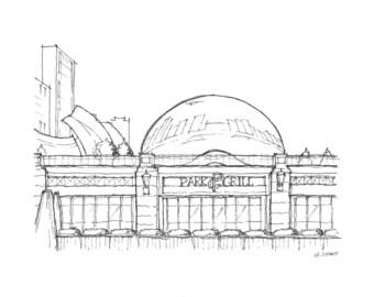 Print: Park Grill Restaurant, Millennium Park, Chicago (Pen & Ink Rendering)