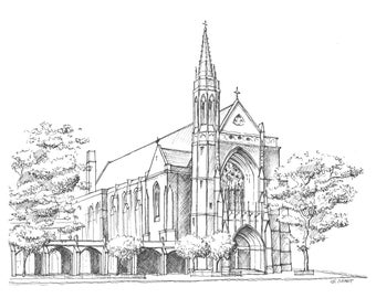 Print: 4th Presbyterian Church in Chicago, IL (Pen and Ink Rendering)