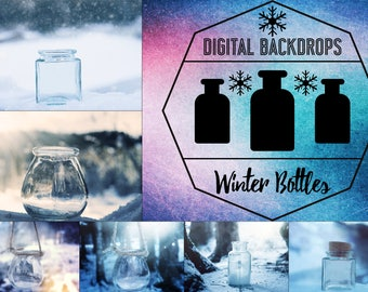 Winter Bottles - 10 digitale Backdrops