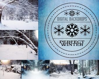 Perfect Winter - 15 digitale Backdrops