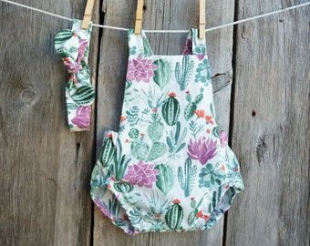 ad9bb035a Cactus baby clothes, Summer baby romper, Organic baby girls clothes, baby  girl romper, boho baby girl, succulent baby clothes,baby girl gift