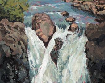 Flow, Original painting Glencoe Falls, Glencoe, Scottish Highlands, Scotland, waterfall, Scottish scenery, stunning view, , Highlands