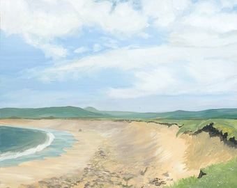Just the 2 of Us, Bay of Skaill, Orkney, Scotland, beach, figures, couple walking hand in hand, oil painting, sky scape, skyscape, seaview