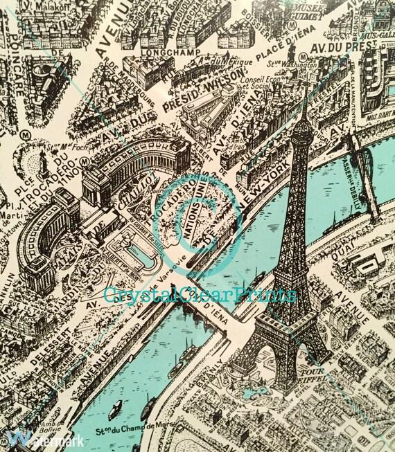 Eiffel Tower From 18th Century Paris Map Giclee Fine Art Print Etsy