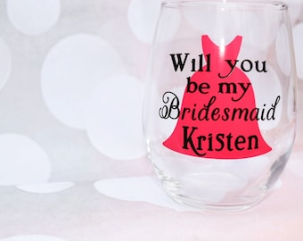 Bridesmaid Proposal, Will You Be My Maid of Honor, Will You Be My Bridesmaid, Maid of Honor proposal,Wine glass Wedding  party