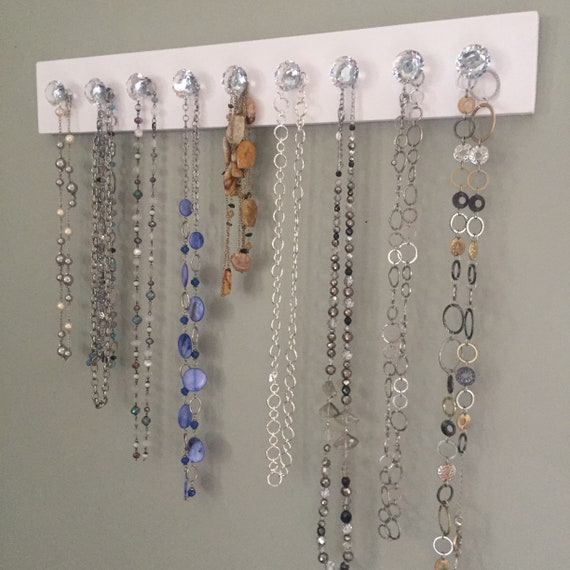 Crystal Knob Necklace Holder Jewelry Organizer Wall Hanging Etsy