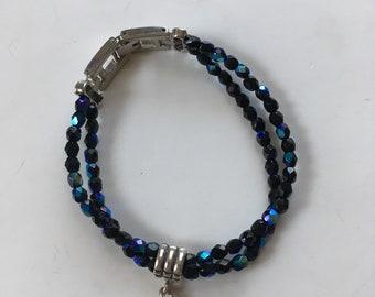 Heart and Black Beaded Bracelet
