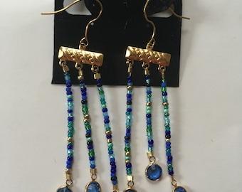 Blue Multicolored Dangle Earrings