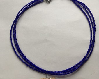 Blue Strand and Shark Tooth Necklace