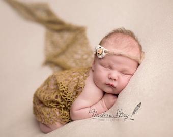RTS Newborn Wrap, Knit Wrap, Jersey Wrap, Dark Camel, UK seller