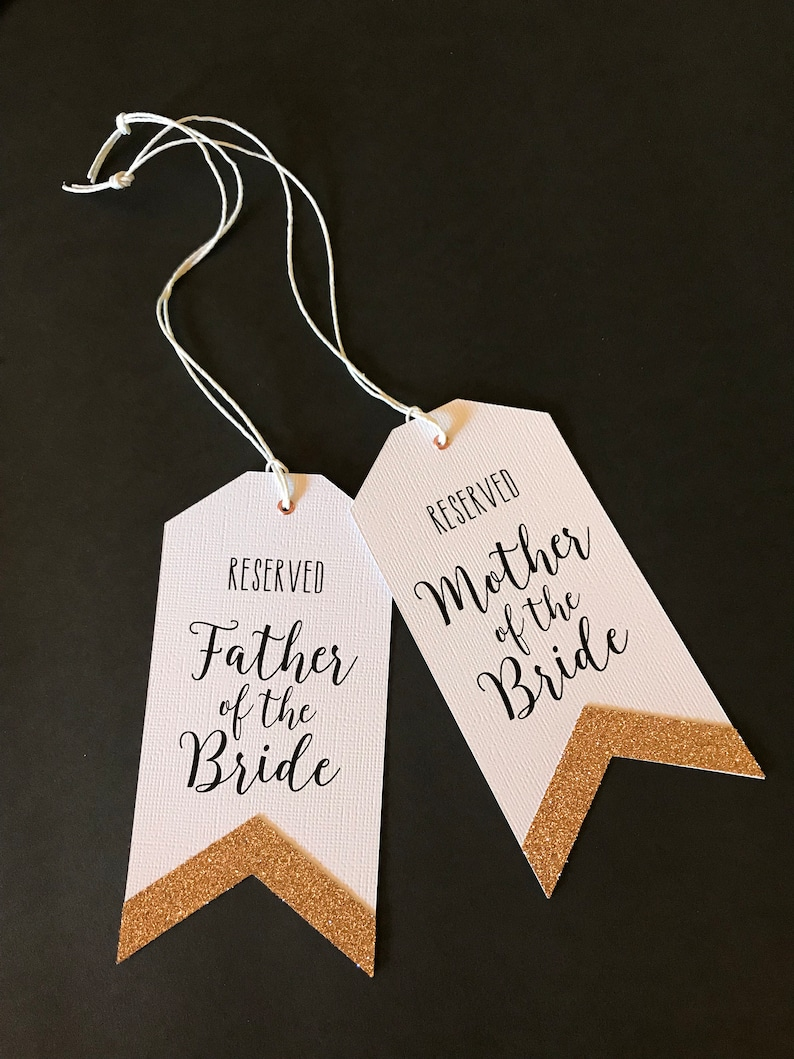 Seating Arrangement Signs Wedding Reserved Tags Rose Gold Glitter