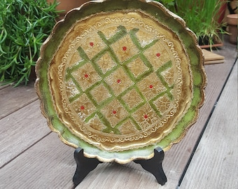 Florentine round tray in wood years ' 60 green and gold