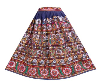 7e2ca310fc Gypsy Hand Embroidered Mirror Work Skirt Vintage Banjara Women's Skirt
