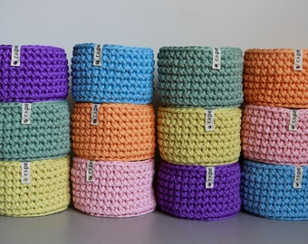 Little Basket Crochet Knit Home Storage Decor Rainbow Organizer Color Box Gift