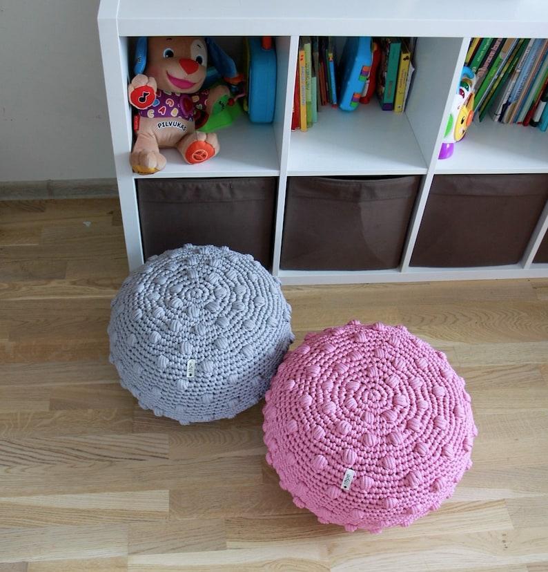 Pink STUFFED bubble crochet pouf floor pillow polka dots ottoman popcorn pouf